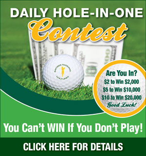 Graphic promoting Baytree National Daily Hole-in-One contest