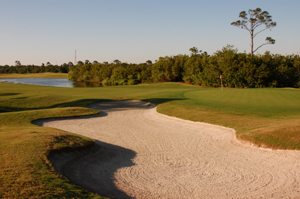 Baytree National Golf Hole 1 with Sand Trap